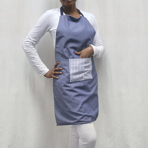 Adult Apron Dark Navy with white stripes