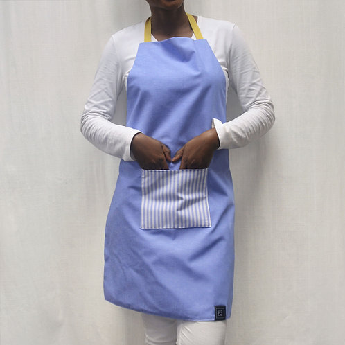 Adult Apron Blue Stripes with Yellow Straps