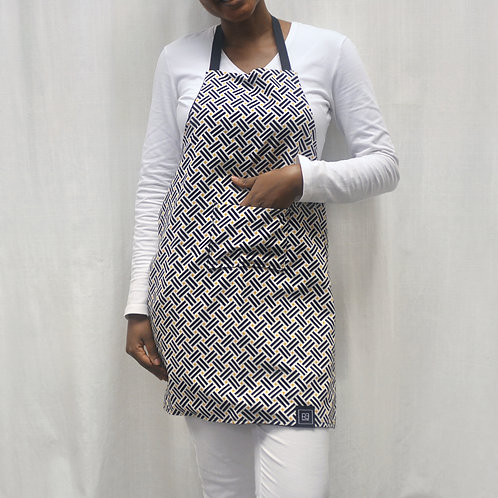 Adult Apron with black & white & mustard graphic