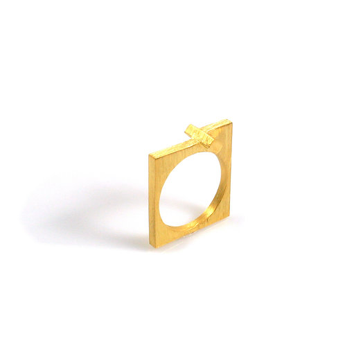 Cross Flat Ring in Gold Plate