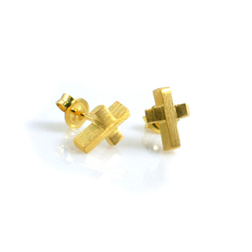Cross Studs in Gold