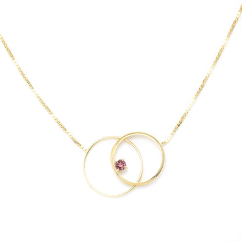 Eclipse Clasp Necklace with Pink Tourmaline
