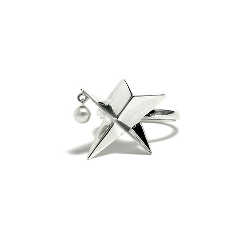 Star Ring with Dangling Pearl