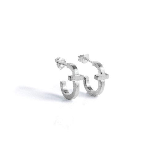 Cross Small Hoop Earring in Silver