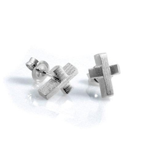 Cross Studs in Silver