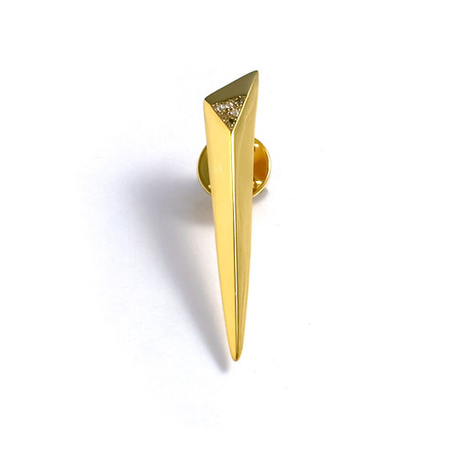 Shooting Star Pin with White Topaz in Gold