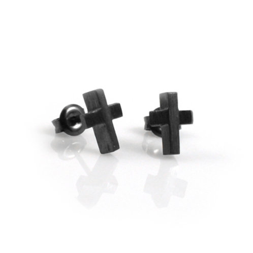 Cross Studs in Black