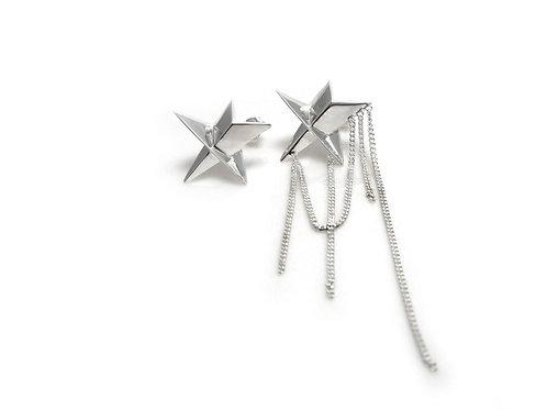 Odd Pair Drapery Star Earrings in Silver