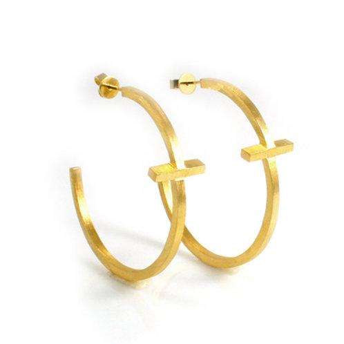 Cross Big Hoop Earring in 18K Gold Vermeil