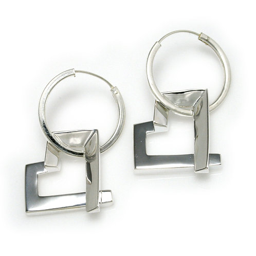 Square Heart Hoop Earrings in Silver