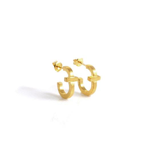 Cross Small Hoop Earring in 18K Gold Vermeil