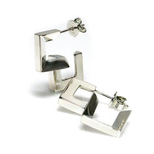Half Heart Earrings in Silver