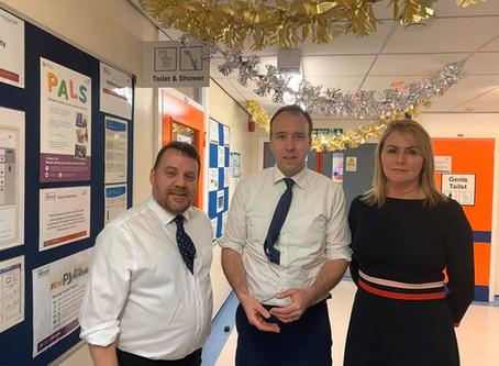 Wendy meets Health Health Secretary Matt Hancock at Warrington Hosiptal