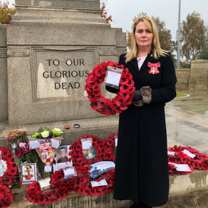 Wendy lays Wreath at Warrington Cenotaph on Remembrance Sunday
