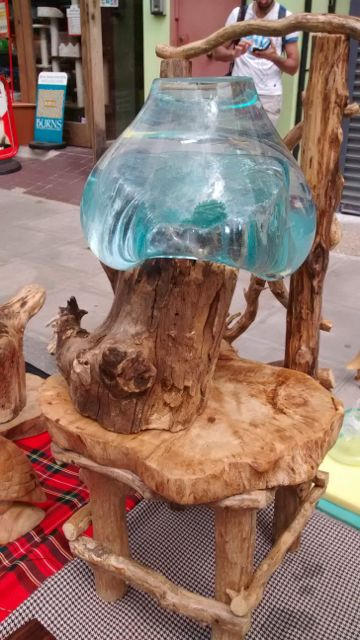 """Blown glass on hand made """" chair"""