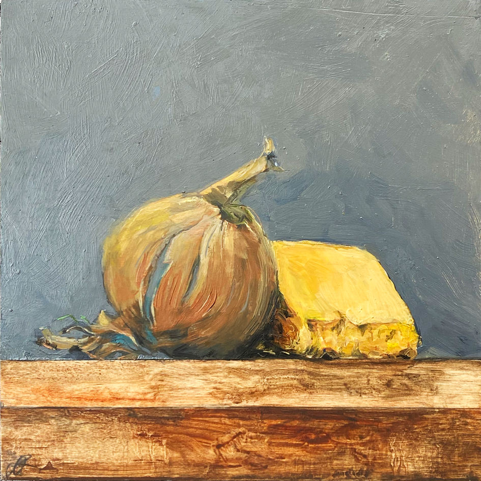 Small paintings for a kitchen - Onion and Somerset Chedar