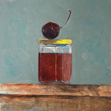 Small paintings for a kitchen - honey with cherry on top