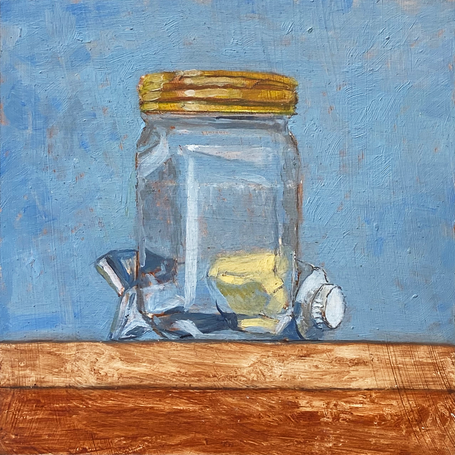 Jar with paint Naples yellow