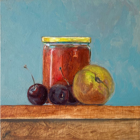 Small paintings for a kitchen - Honey cherries peach