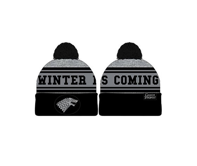 """GAME OF THRONES, A - BEANIE """"WINTER IS COMING"""" - BLACK/GREY"""