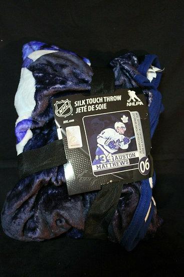 "NHL Toronto Maple Leafs # 34 Auston Matthews 50 x 60 ""SILK Touch"" Throw Blanket"