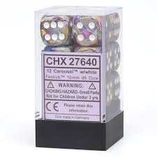 Chessex D6 cube of 16mm Festive Carousel With White Numbers Set (12)
