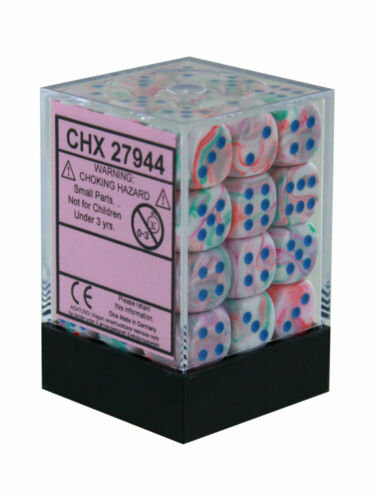 Chessex D6: 12mm: Festive Pop Art With Blue Numbers Set 36 Dice