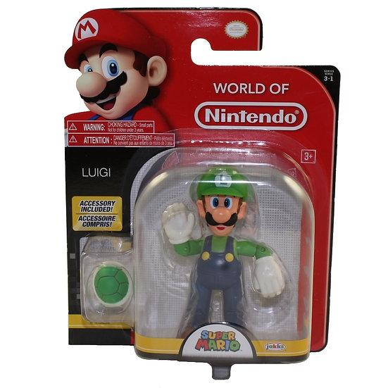 Jakks Pacific Toys - World of Nintendo Wave 13 Figure - LUIGI w/ Green Shell