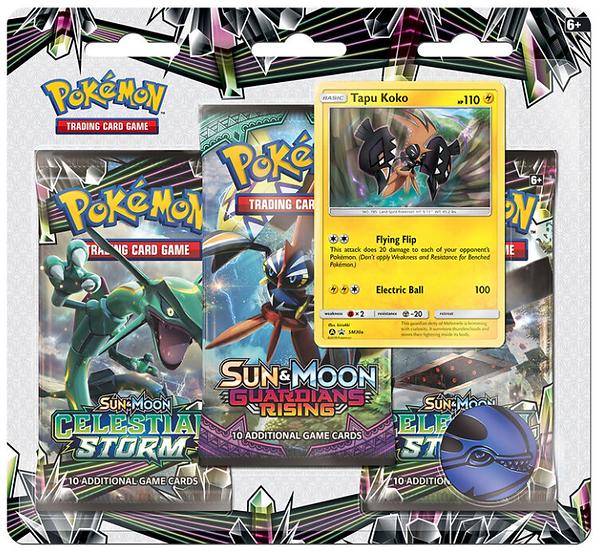 """Pokemon Sun & Moon 7 """"Celestial Storm"""" 3-Pack Blister"""