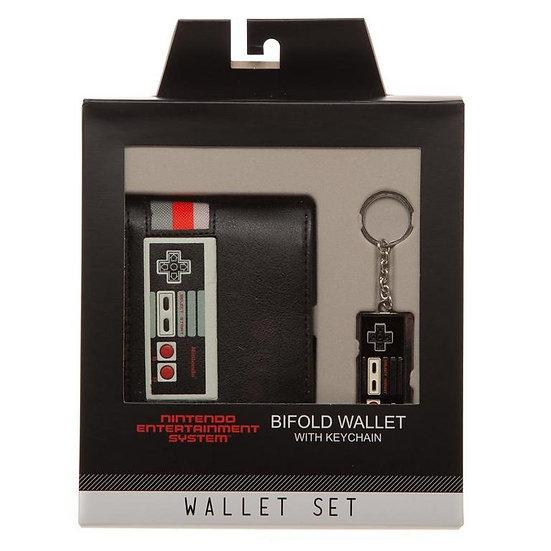 Nintendo NES Controller Bifold Wallet & Keychain Set