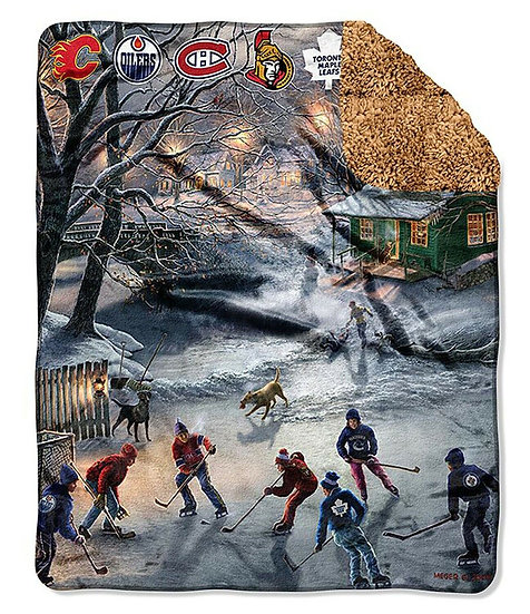 """The Warming House NHL All Canadian Teams 50"""" x 60"""" Fleece Sherpa Throw Blanket"""