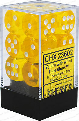 Chessex Yellow D6 16mm With White Numbers Dice Set (12)