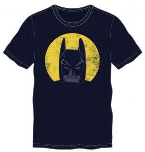 LEGO BATMAN - Batman Face In Yellow Circle Men's Navy Tee