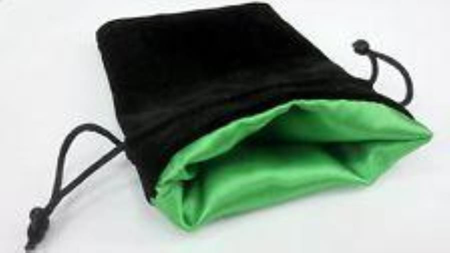 "5"" x 8"" Black Velvet Dice Bag - Satin Green Lining"