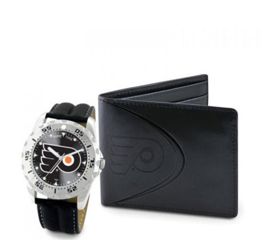 Philadelphia Flyers Black Leather Watch & Bifold Wallet Set