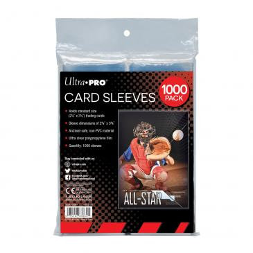 "Clear Card Sleeves for Standard Size Trading Cards - 2.5"" x 3.5"" (1000 count)"