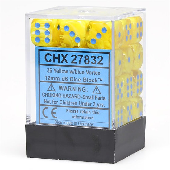 Chessex D6: 12mm: Vortex Yellow With Blue Numbers Set 36 Dice