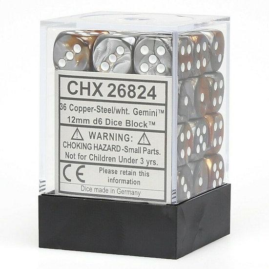 Chessex D6: 12mm: Gemini Copper Steel & White Set 36 Dice