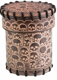 Q-Workshop: Leather Dice Cup - Skull Beige