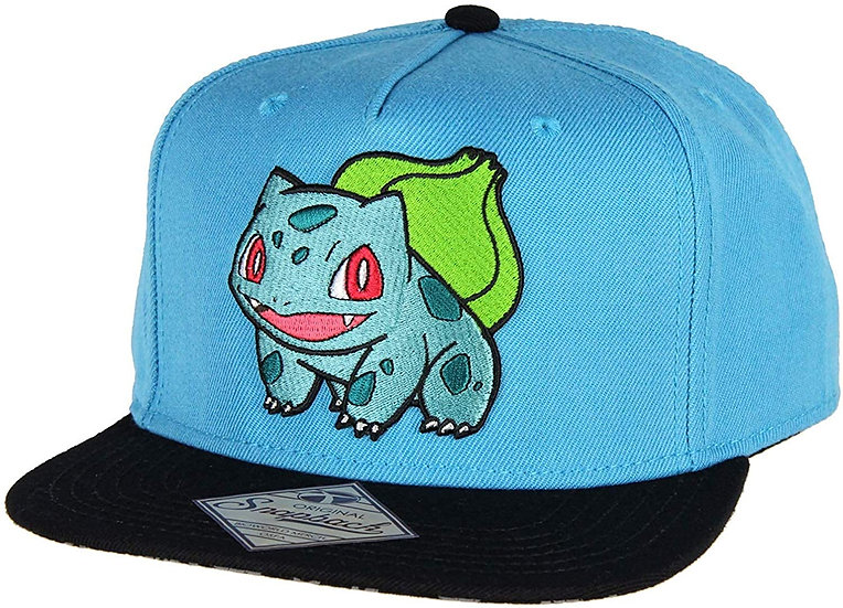 Bioworld Pokemon Bulbasaur Embroidered Snapback Cap Hat Blue