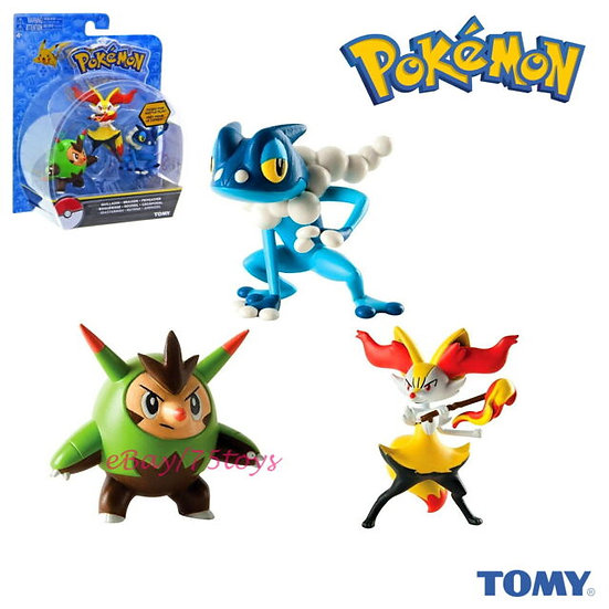 TOMY Pokemon Quilladin, Braixen, Frogadier Set 3 pcs Figurine Cartoon Character