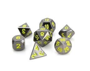 Die Hard Metal RPG Dice (Sinister Chrome W/Yellow)