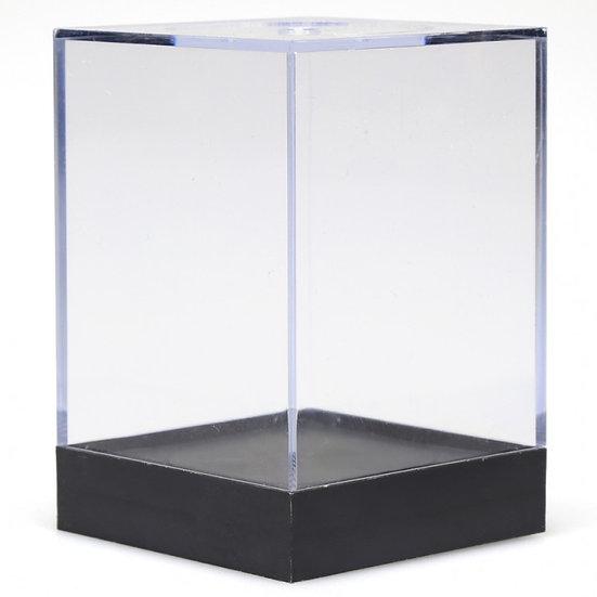 Empty Crystal Display Box (L) Clear w/Black Lid 3.38 x 2.32