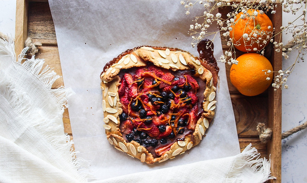 Mixed berry galette with a whole-wheat crust