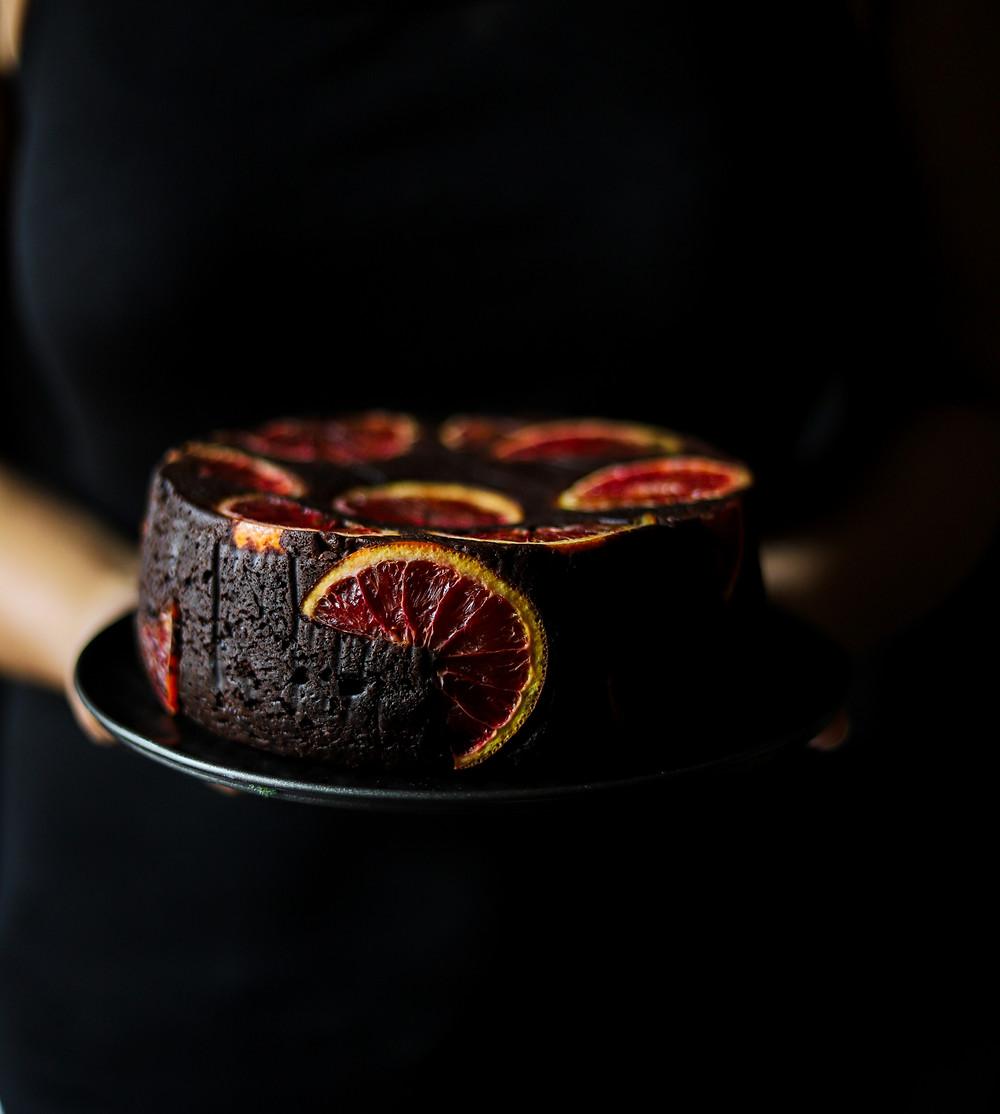 Dark chocolate Blood orange Mud cake