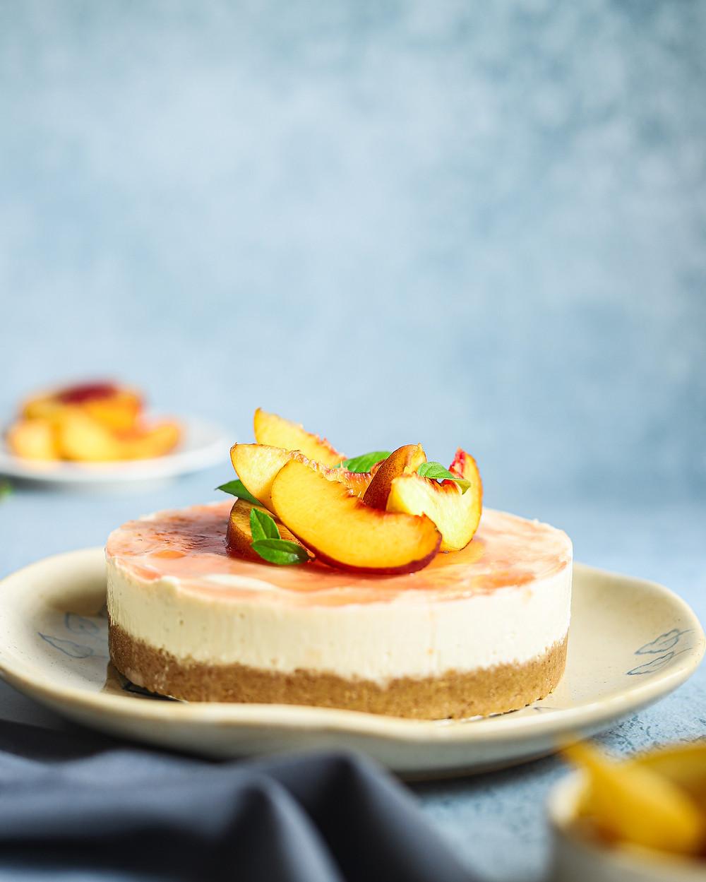 No-bake Eggless and Gluten free Peach cheesecake