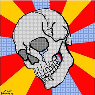 Crying Skull Pop Art - Digital Drawing