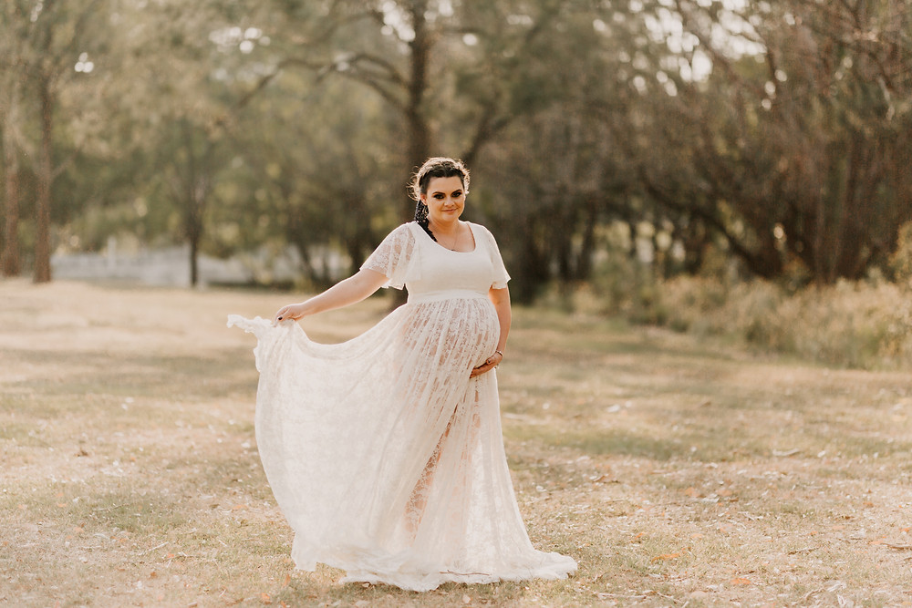 Boho Maternity photo - white lace dress