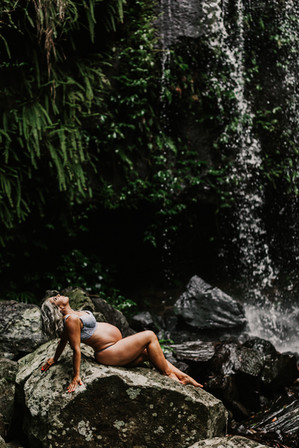 Maternity photo at waterfall