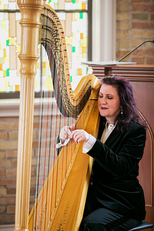 onario wedding officiant and Harpist Tracy Sweett
